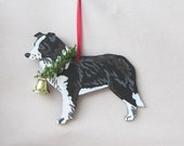 Hand-Painted BORDER COLLIE Wood Christmas Ornament Artist Original....choose pine or candy cane design