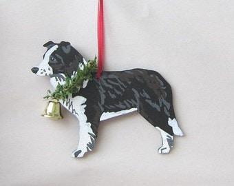 Hand-Painted BORDER COLLIE Wood Christmas Ornament w/pine & Bell.....Artist Original, Christmas Tree Ornament Decoration
