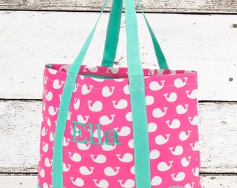 Whales Monogrammed tote bag , whale  tote bag, beach bag, kids beach bag,  monogrammed beach bag, girls tote , kids personalized tote