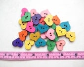 20 pcs of 2 cm rainbow small 2 Hole heart fun colour colourful cute daisy simple Wood Sew knit crochet Button scrapbook craft diy valentine