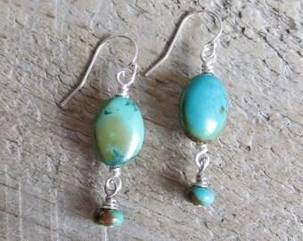 Sterling Silver Turquoise Earrings, Healing Gemstone Earrings, Boho Gypsy Tribal