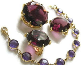 Vintage Deep Grape Purple Cut and Faceted Glass Brooch or Pin and Earrings with Swarovski Crystal Bracelet Demi Parure Set