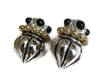 Vintage Silver & Gold Tone Earrings with Black Glass Cabochons