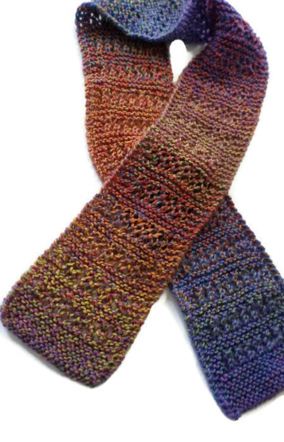Multi Colored Scarf Knitting Pattern : Scarf Ladies Hand Knit Multi Colored Scarf