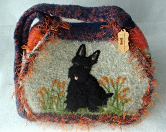 Scottie Dog,Felted Purse,felted handbag, Scottie dog, Scottish Terrier, Needle Felt Dog, Fiber Art, Custom Pet