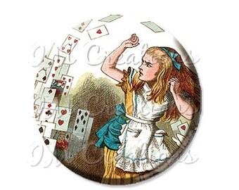 """35% OFF - Pocket Mirror, Magnet or Pinback Button - Wedding Favors, Party themes - 2.25""""- Alice In Wonderland Flying Cards MR221"""