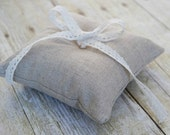 Petite Linen Ring Bearer Pillow, Simple, Rustic, Monochromatic, Choose Your Linen Color, 5 x 5 inches