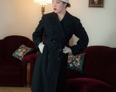 4th of July SALE - Vintage 1930s Coat - Iconic Black Gabardine 30s Trench Coat with Belted Waist