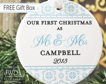 Our First Christmas Ornament Mr and Mrs Wedding Ornament Personalized Wedding Gift - Crystalline Pattern - Item# CRY-MM-O