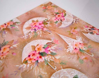 1970s Wedding Wrapping Paper   Brown Tan Pink Gift Wrap Paper   Flowers Floral Umbrellas Parasols