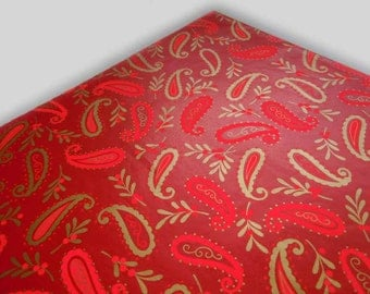 1960s All Occasions Wrapping Paper Hot Pink Red Gold Paisley Gift Wrap Paper