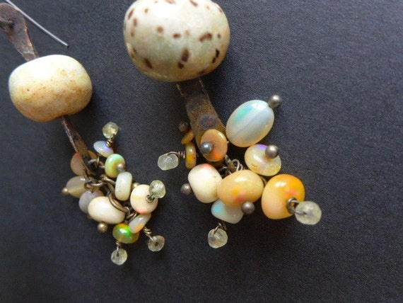 Luminiferous Ether. Assemblage earrings with Ethiopian opals.