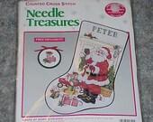 Unopened--Needle Treasures--Counted Cross Stitch--KIT--Santa At Work--Christmas Stocking--SANTA CLAUS--Sealed Kit