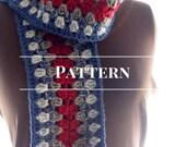winter scarf pattern, Crochet Granny Square Stripe