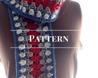 winter scarf pattern, Crochet Granny Square Stripe