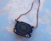 vintage 80s Tapestry Purse - 1980s Geometric Tapestry and Leather Shouder Bag