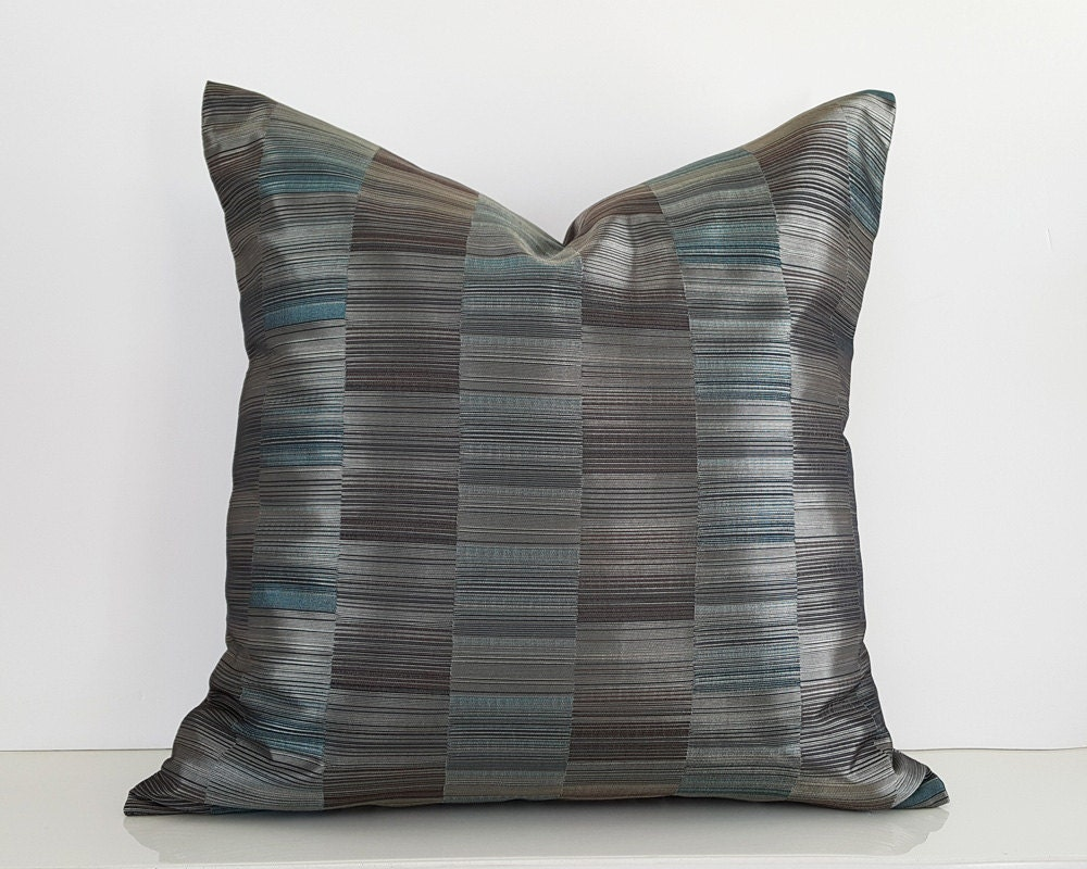 Metallic Throw Pillows Steel Blue Pillow Covers Shimmering