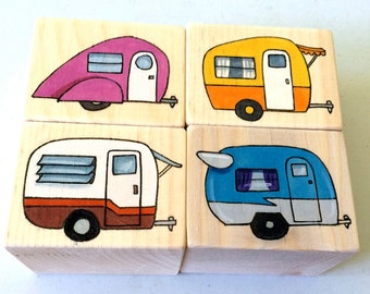 4 Blocks, Campers. Hand painted wooden blocks, set of four campers.