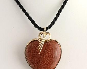 Goldstone Heart Pendant. Listing 386455242