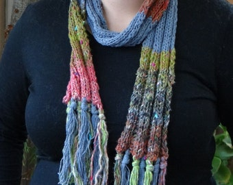 Recycled Jeans Yarn knitted Scarf