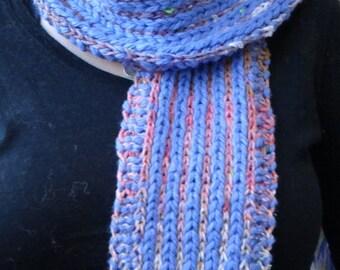 Cozy skyblue Scarf - knit-one-below Stitch