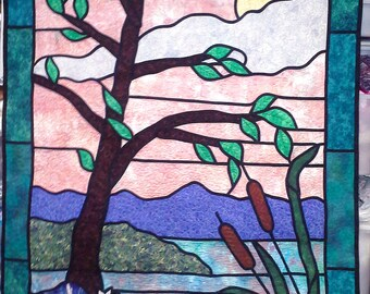 Cattail Afternoon - quilted Tiffany-style wall-hanging