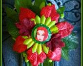 Hair Barrette : Dead Girl Portrait Decay Toxic Poison Ivy Uma Thurman Batman Villain Green Red Leaf Flower