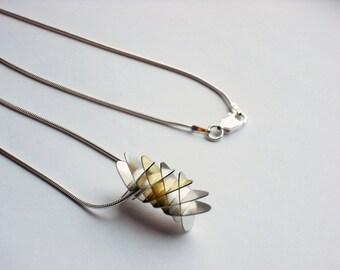 Geometric Torus Mini Segment Pendant - Silver and Gold Finish - Sterling Silver