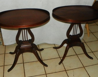 Pair of Oval Mahogany Lyre Base End Tables / Side Tables by Mersman (RPWC)