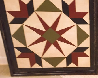 PriMiTiVe Hand-Painted Barn Quilt, Small Frame 2' x 2' - Garden of Eden Pattern