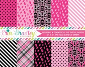 Digital Paper Pack Hot Pink and Black Digital Papers with Polka Dot Damask Striped & Plaid Patterns