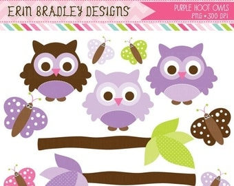 60% OFF SALE Purple Owl Clipart Clip Art Personal & Commercial Use with Butterflies and Branches