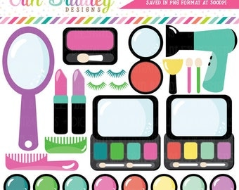 Makeup Clipart Beauty Graphics Mirror Lipstick Eyeshadow Hairdryer Blush Eyelashes Girls Clip Art Instant Download