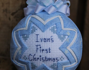 Baby's First Christmas Quilted ornament