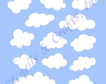 CLOUDS STENCIL TEMPLATE cloud sky stencils pattern background pattern templates pochoir craft art scrapbook new