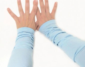 Arm Warmers in Granny's Mint Blue - Long Cuffs - Cotton Fingerless Gloves - LAST PAIR