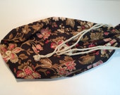 Brown Pink Jacobean Floral Large Drawstring Bag Knitting Travel Bag