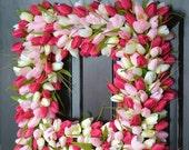 FALL WREATH SALE Pink Tulip Spring Wreath- Thin Storm Door Wreath Spring Decor Square Wreath- Tulip Wreath- 20 inch shown- The Original Tuli