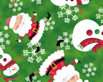 Holiday Christmas fabric Holly Jolly Santas Christmas Theme Fabric