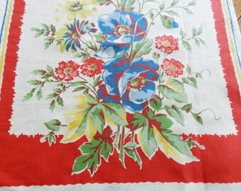 NOS Startex Red Towel, Red Never Used Towel, Startex Kitchen Towel, Floral Startex Towel, FREE SHIPPING with 2 Towels