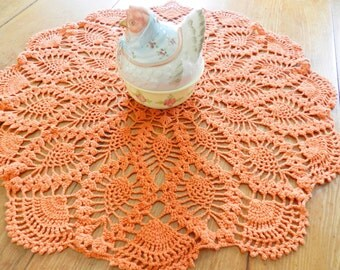 Orange Doily, Large Orange Doily, Orange Centerpiece, Pineapple Doily