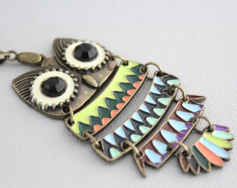 Owl Necklace, Colorful Owl Pendant Necklace, Large Owl Necklace, Long Owl Necklace, Owl Jewelry
