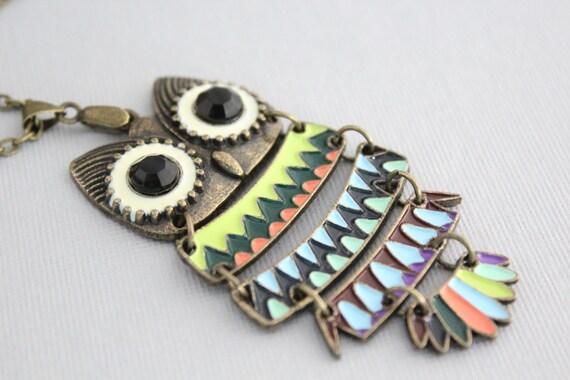 Owl Necklace, Colorful Owl Pendant Necklace, Large Owl Necklace, Long Owl Necklace, Owl Jewelry