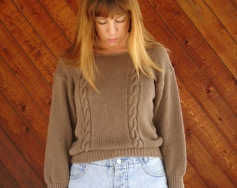 Brown Cable Knit Slouch Pullover Sweater - Vintage 70s 80s - SMALL S