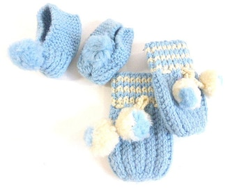 Vintage Hand Knitted Doll Baby Booties and Mittens Blue and White Knitted Baby Doll Accessories Boy Baby Doll Booties Mittens