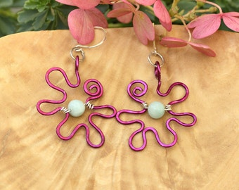 Wire wrapped purple flower earrings, dangle earrings, wire wrap jewelry, nature inspired, abstract jewelry