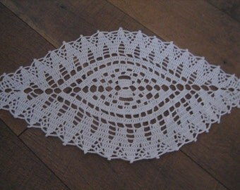 Oval,New, Crochet, table decor, lace doily, made by Demet, white, small, fabulous looking, ships free in the U.S.