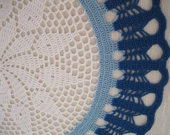 Crochet, Gorgeous handmade doily, blue, denim blue, ready to mail, home fashion