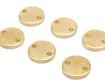 Brass Circle Charm, 6 Raw Brass Circle Button Blanks  (18x3mm) Y211