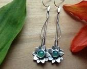 flowering vine earring, sterling silver, feminine earrings, flower earrings, chrysoprase, ready to ship